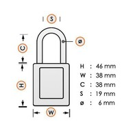 Anodized aluminium safety padlock black S1106BLK