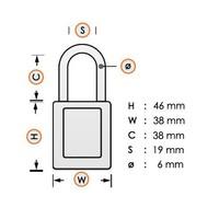 Anodized aluminium safety padlock white S1106CLR
