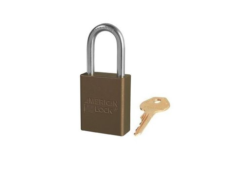 Anodized aluminium safety padlock brown S1106BRN