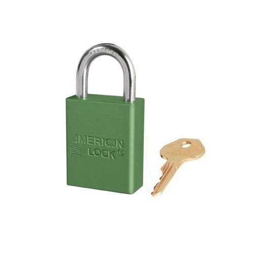 Anodized aluminium safety padlock green S1105GRN
