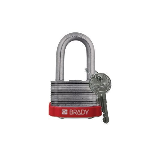 Laminated steel safety padlock red 814097