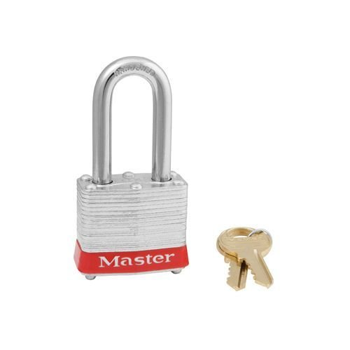 Laminated steel padlock red 3LFRED
