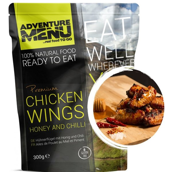 Adventure Menu Chicken wings on honey and chilli ready to eat