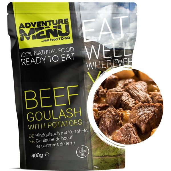 Adventure Menu Beef goulash with boiled potatoes  Ready to eat