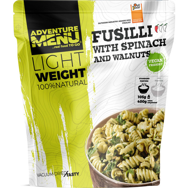 Adventure Menu Fusilli with spinach and walnuts Vegan