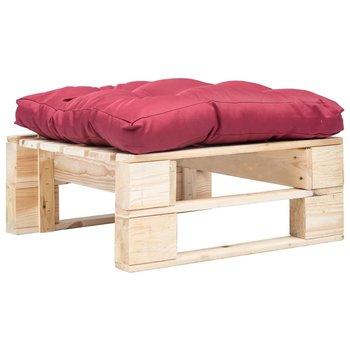 SG Tuinpoef met rood kussen pallet hout naturel