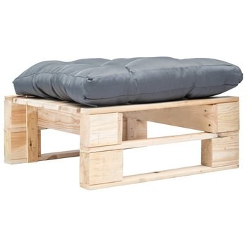 SG Tuinpoef met grijs kussen pallet hout naturel