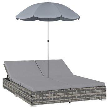 SG Loungebed met parasol poly rattan grijs