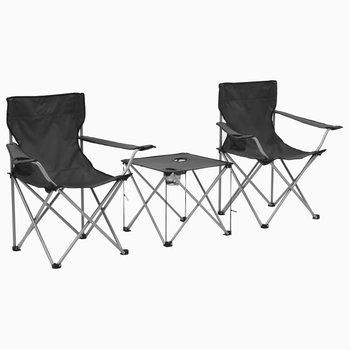 SG Campingtafel en -stoelenset grijs 3-delig