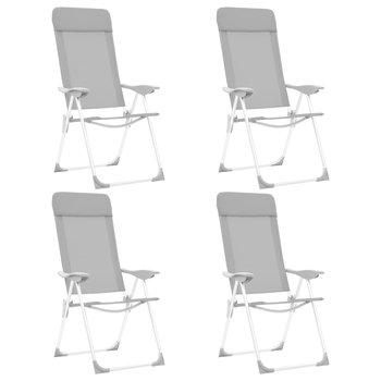 SG Campingstoelen 4 st inklapbaar aluminium grijs