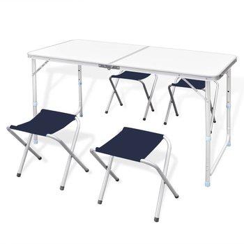 SG Campingtafel inklapbaar en verstelbaar aluminium 120 x 60 cm 4 stoelen