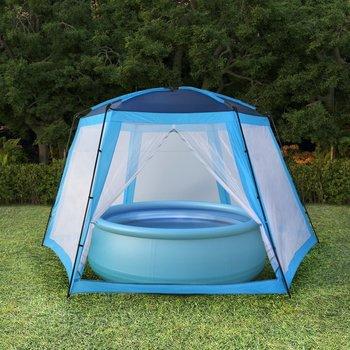 SG Zwembadtent 660x580x250 cm stof blauw