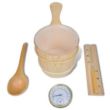 SG Sauna accessoires: emmer + opgietlepel, zandloper, thermo-vochtmeter