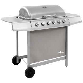 SG Gasbarbecue met 6 branders zilverkleurig