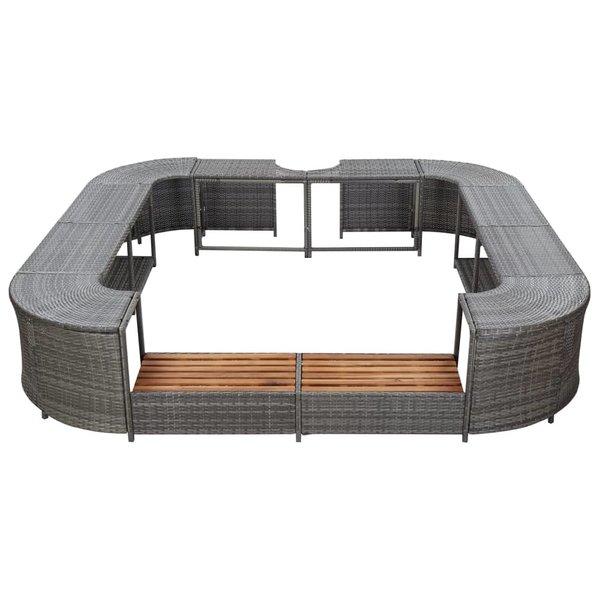 SG Spa-ombouw vierkant 268x268x55 cm poly rattan grijs