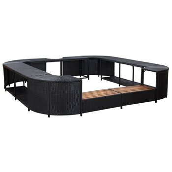 SG Spa-ombouw vierkant 268x268x55 cm poly rattan zwart