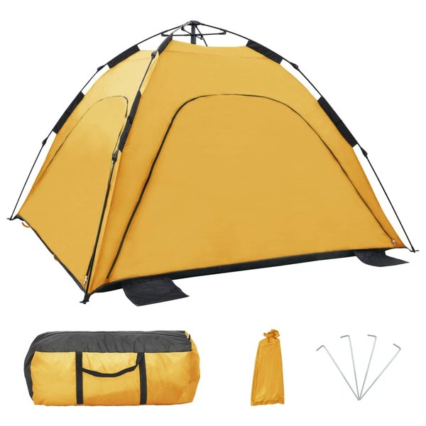 vidaXL Strandtent pop-up 220x220x160 cm geel