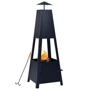 vidaXL Vuurplaats 35x35x99 cm staal zwart