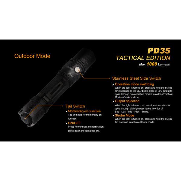 Fenix Led Zaklamp PD35 Tactical