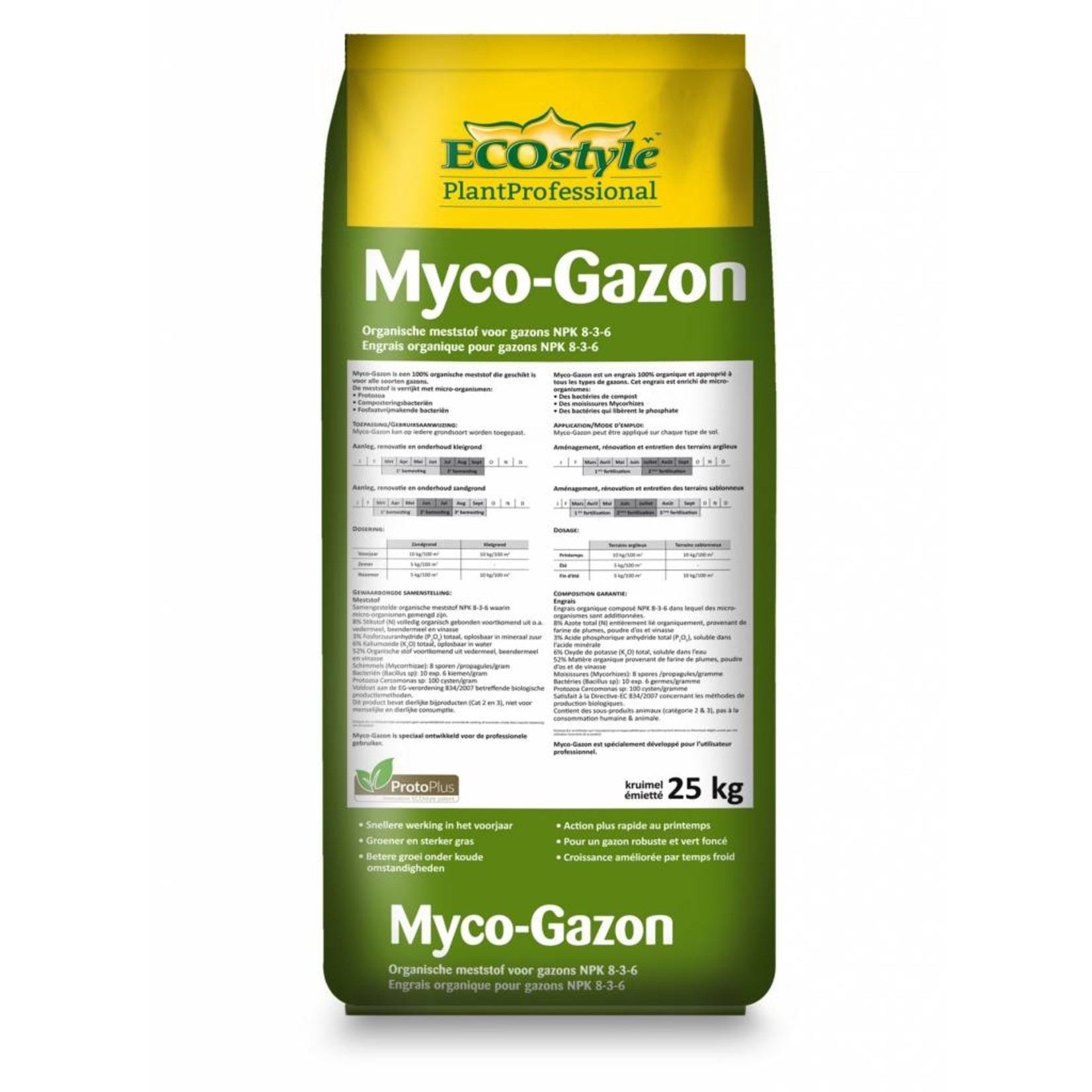 Ecostyle Professioneel Myco-Gazon Meststof 25 kg met ProtoPlus