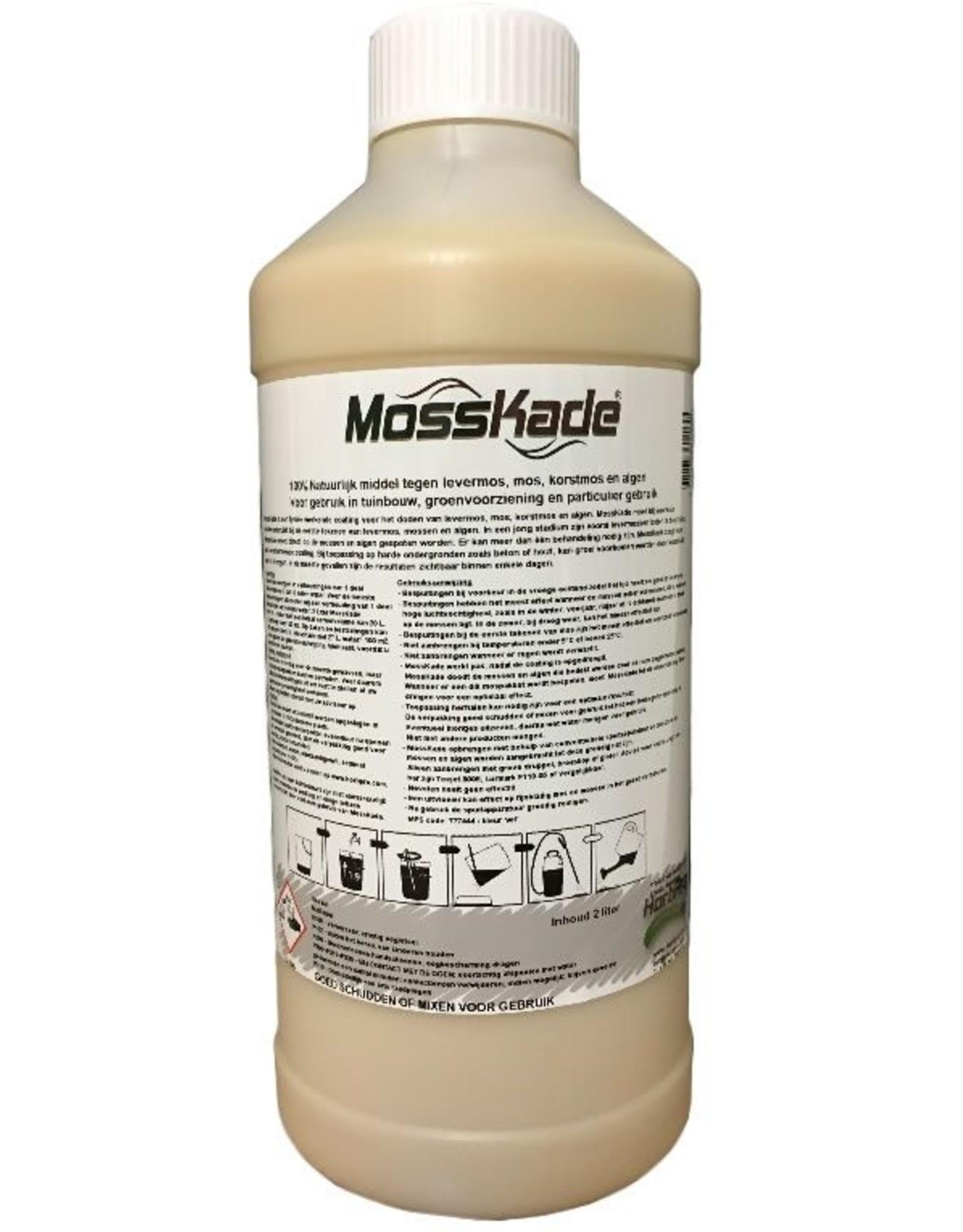 HortiPro MossKade 2 liter (concentraat) tegen levermos, mos (ook in het gazon), korstmos en algen
