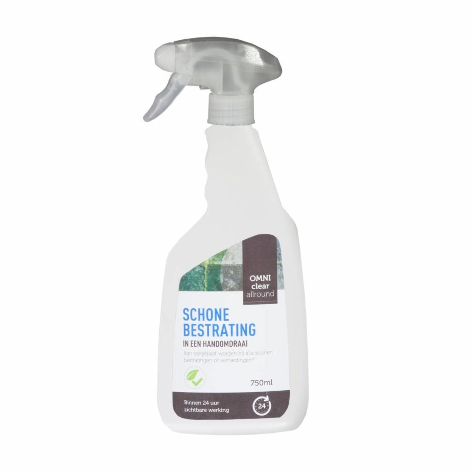 Omni Clear Allround 750 ml (gebruiksklaar) tegen groene aanslag, mossen en onkruiden