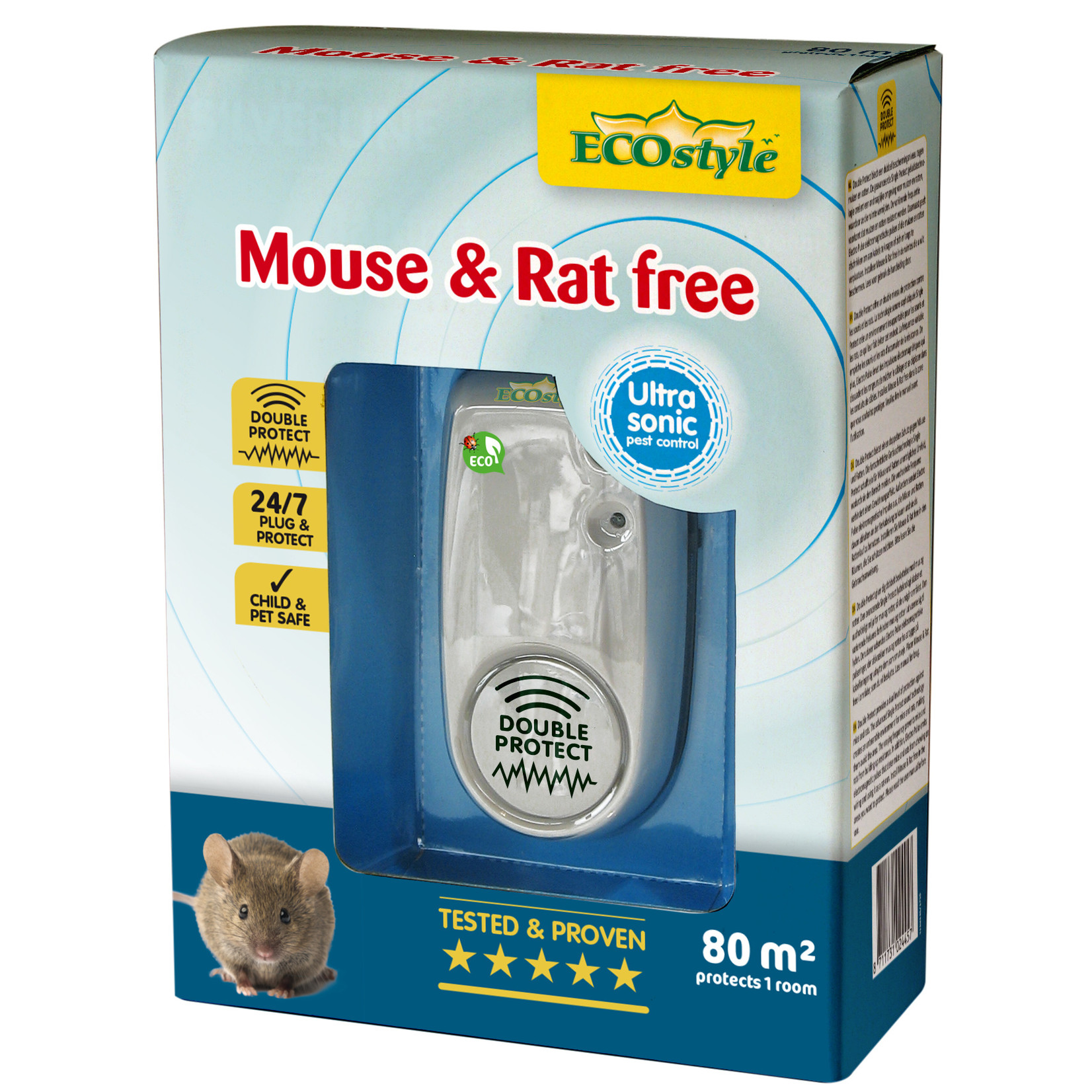 Ecostyle Mouse & Rat free X-tra  ultrasone verjager (tot 80 m²)