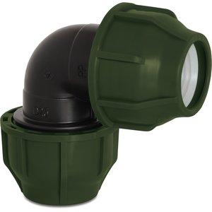 Knie 90° PP 25mm knel 10bar zwart/groen