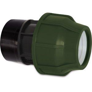 """Aansluitstuk PP 25 mm x 1/2"""" knel x binnendraad 10bar zwart/groen"""