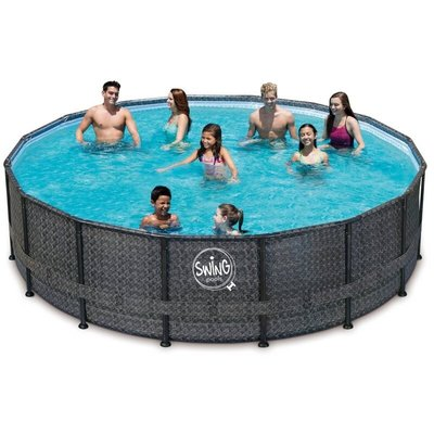 Swing Pool Zwembad Steel Pro Wicker Dark rond 488cm Deluxe