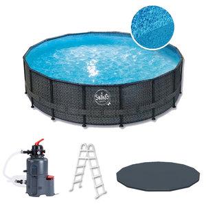 Swing Pool Zwembad Steel Pro Wicker Dark rond 427cm Deluxe