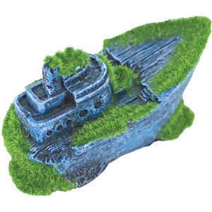 Gebr. de Boon Ornament Polyresin Gezonken Half schip met Mos 13 x 6 cm
