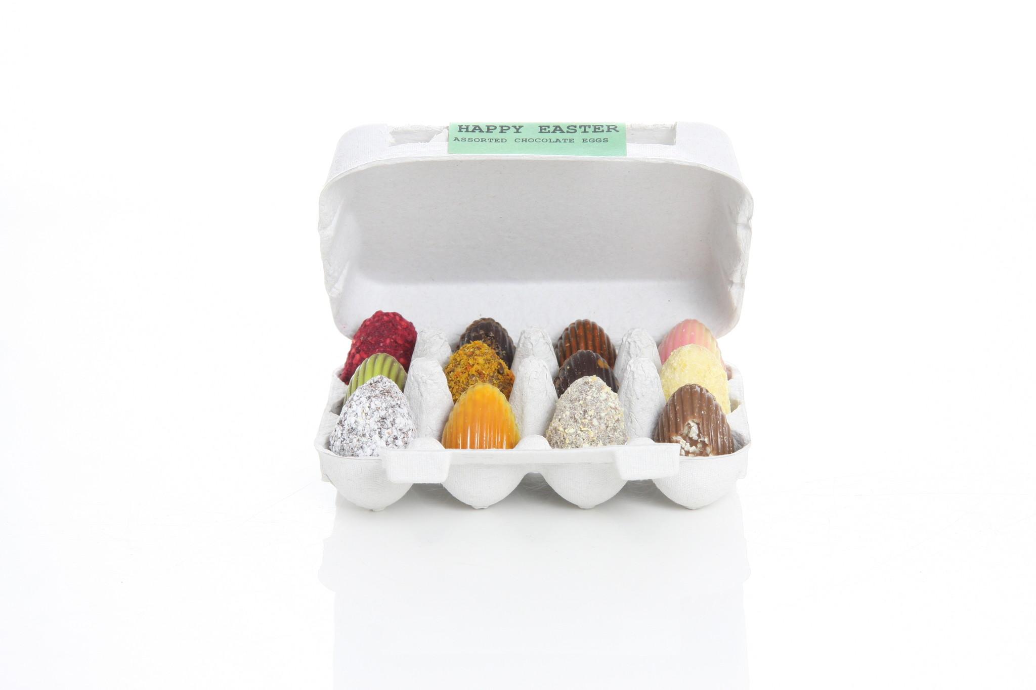 12 assorted chocolate Easter eggs in cardboard egg carton