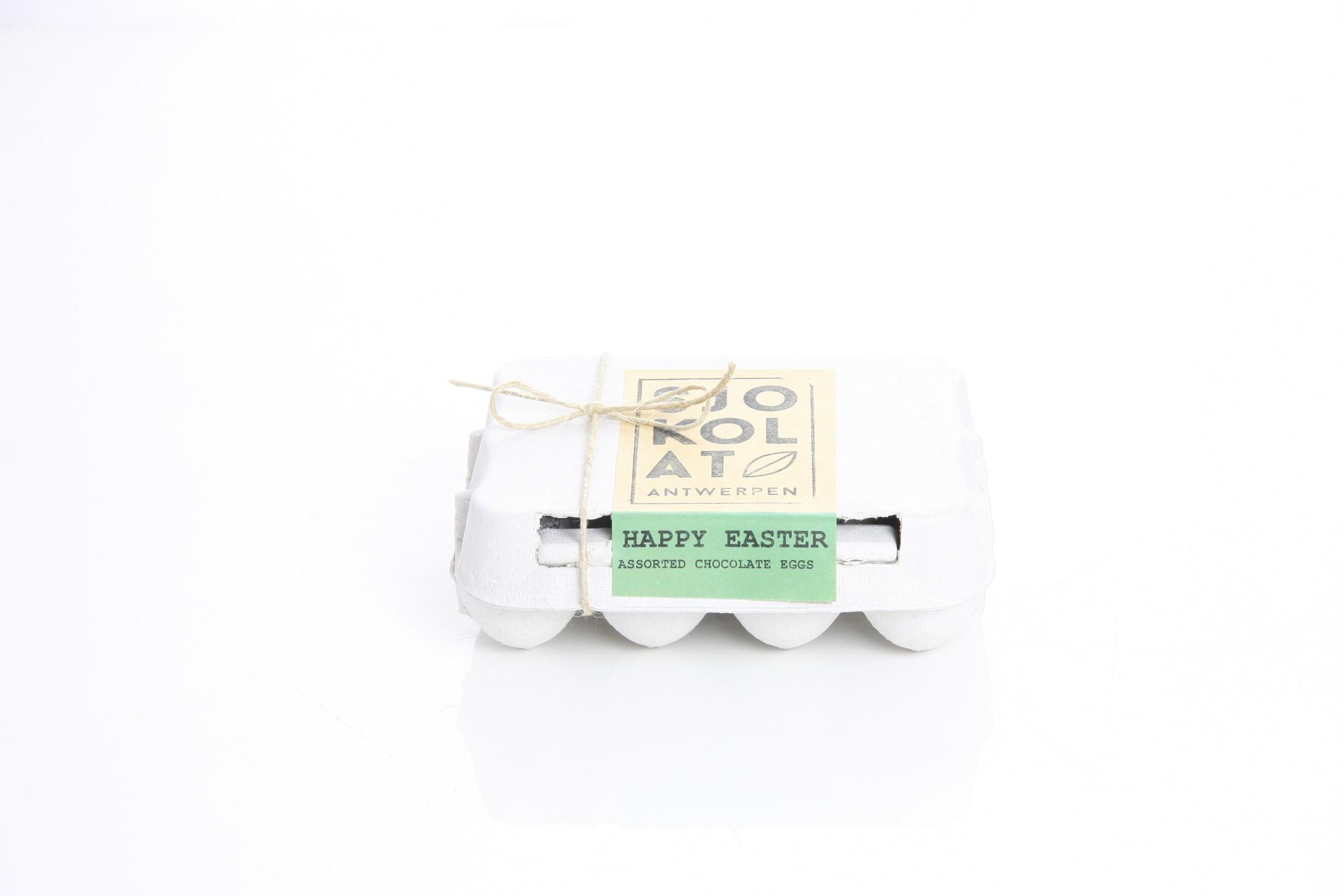 Assortiment chocolade paaseitjes in eierdoos  - 12 st