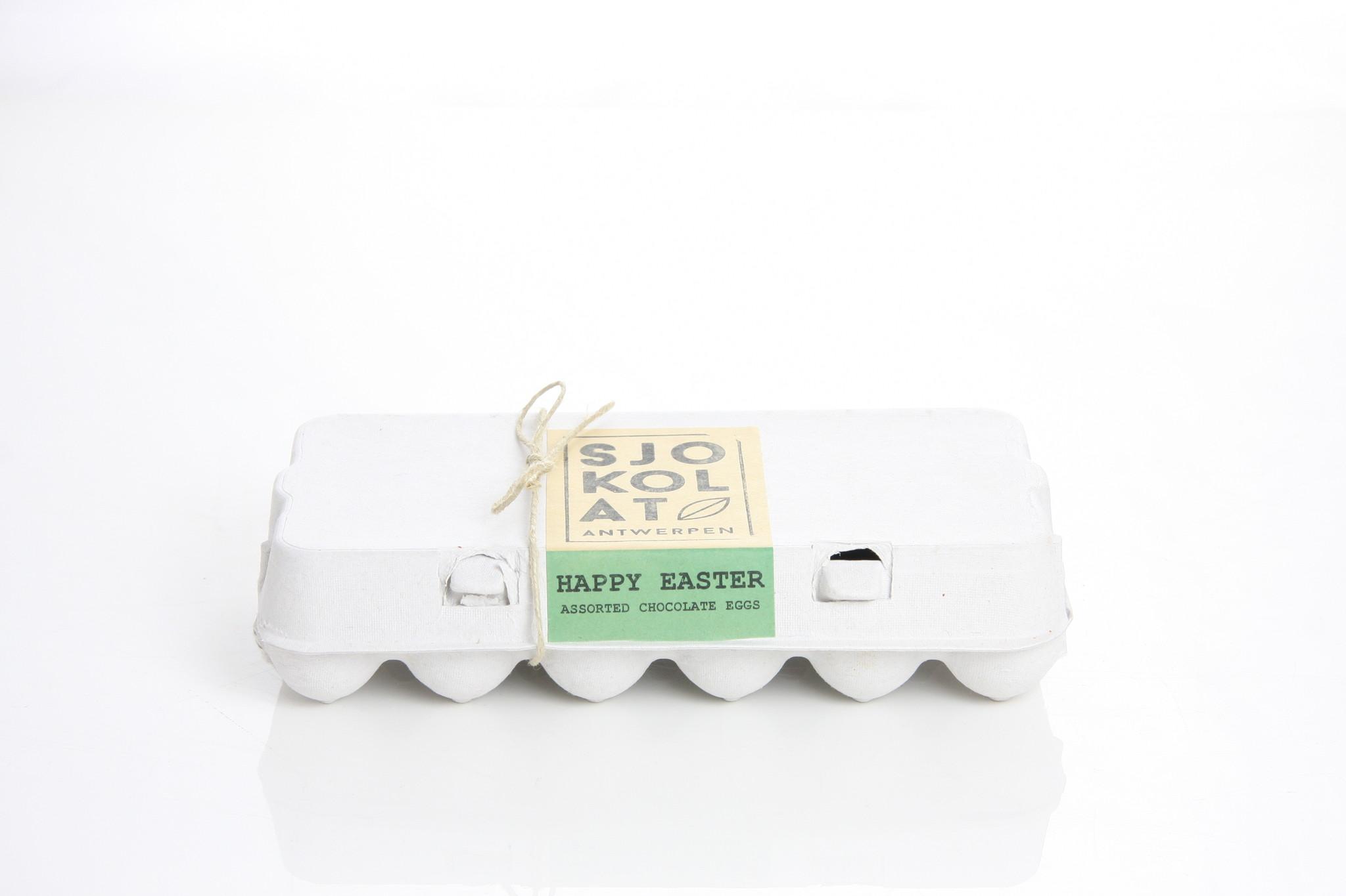 Assortiment chocolade paaseitjes in eierdoos  - 18 stuks
