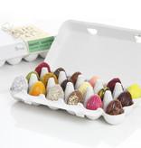 18 assorted chocolate Easter eggs in cardboard egg carton