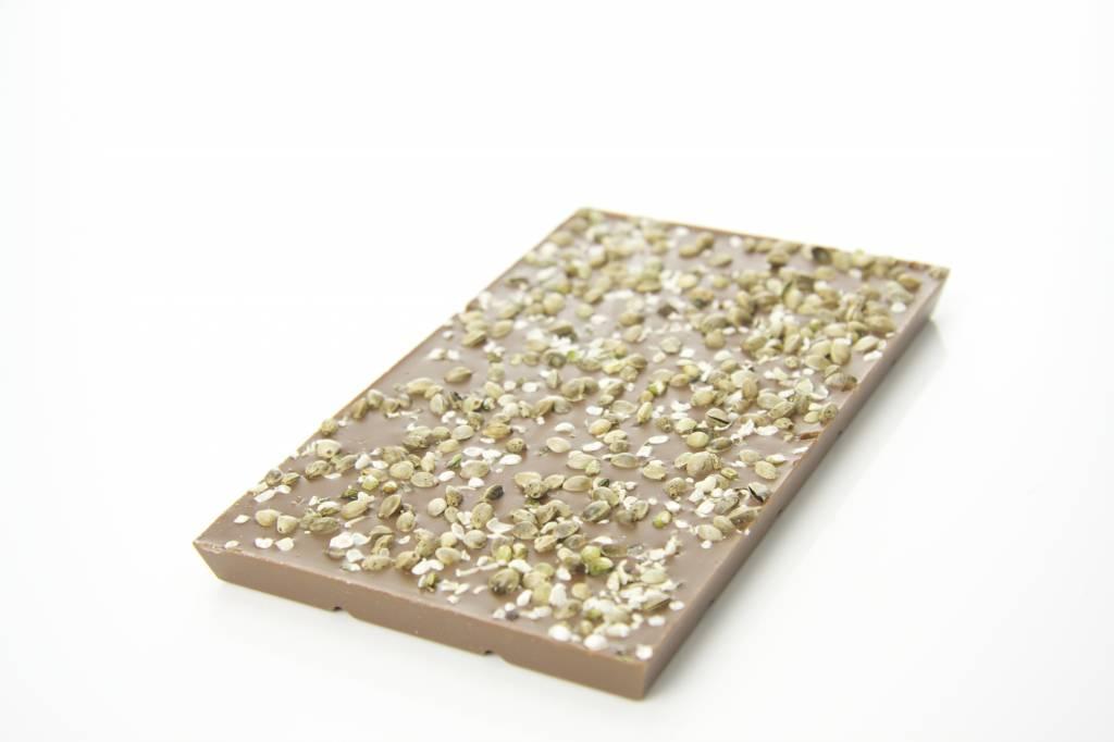 Milk chocolate with hemp seeds