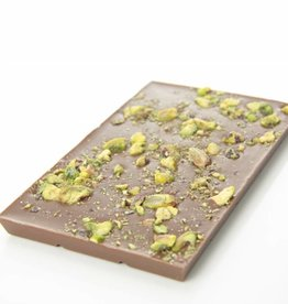 Milk chocolate with pistachio nuts
