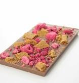 Tablet melkchocolade met speculoos en framboos