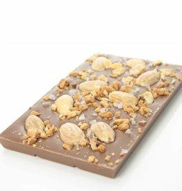 Melkchocolade amandel, caramel en zeezout