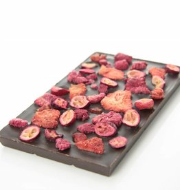 Dark chocolate with a mix of red fruits