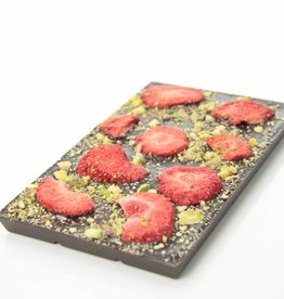 Dark chocolate with strawberries and pistachio nuts