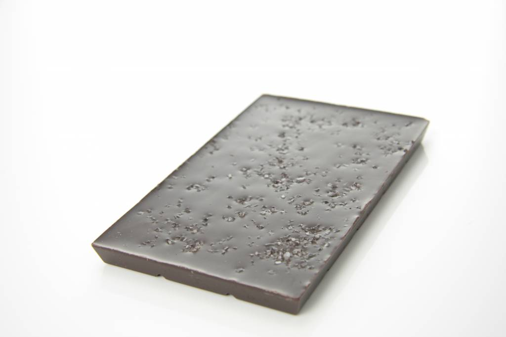 A bar of dark chocolate with sea salt