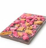 Tablet pure chocolade met speculoos en framboos