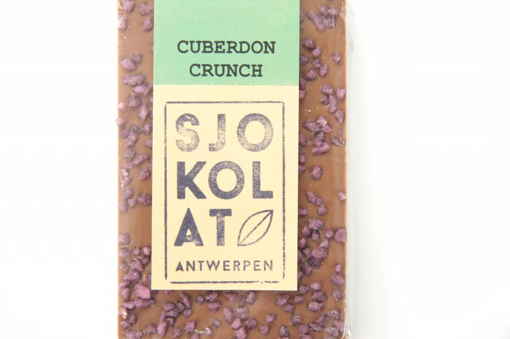 A bar of milk chocolate with Cuberdon crunch