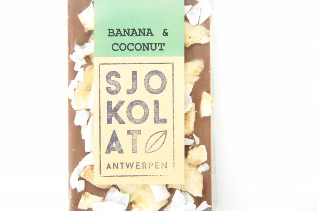 Tablet melkchocolade met banaan en kokos