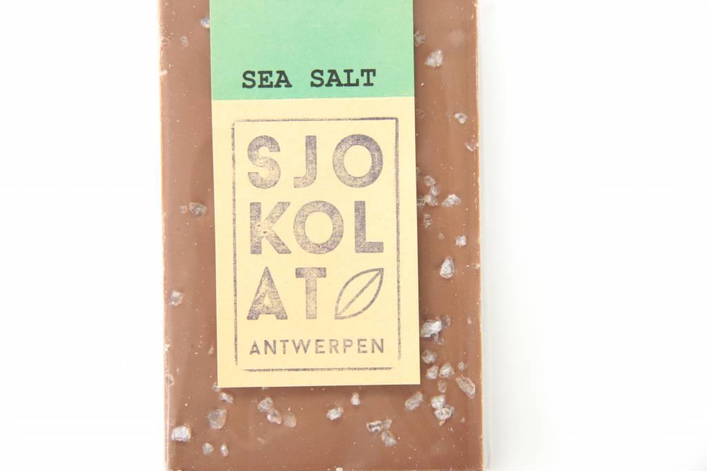 A bar of milk chocolate with sea salt