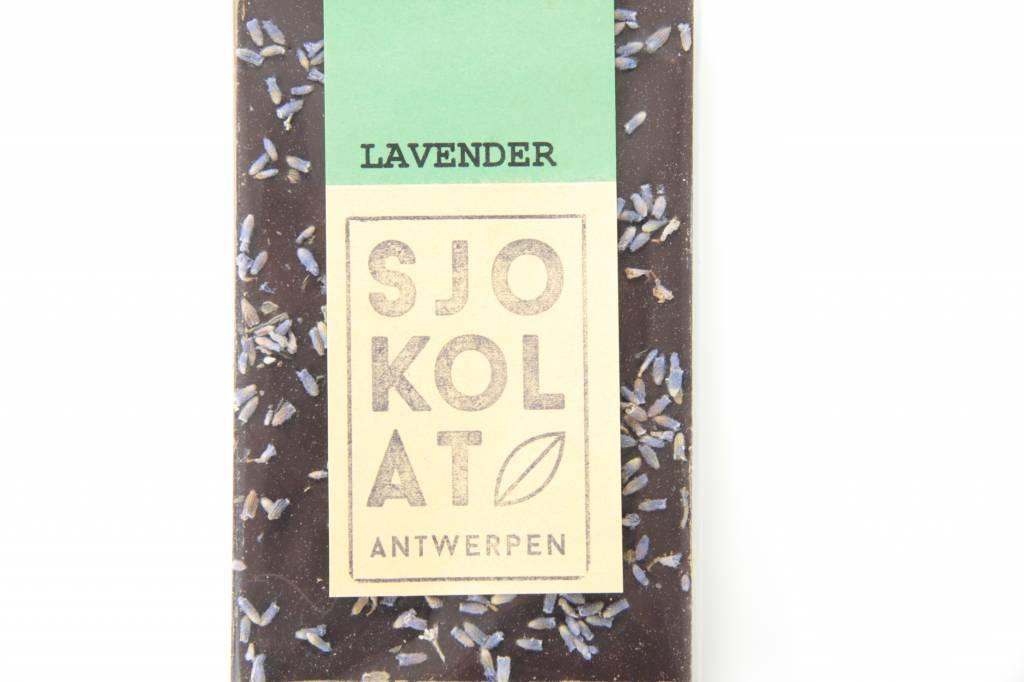 A dark chocolate bar with lavender