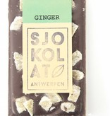 A dark chocolate bar with ginger