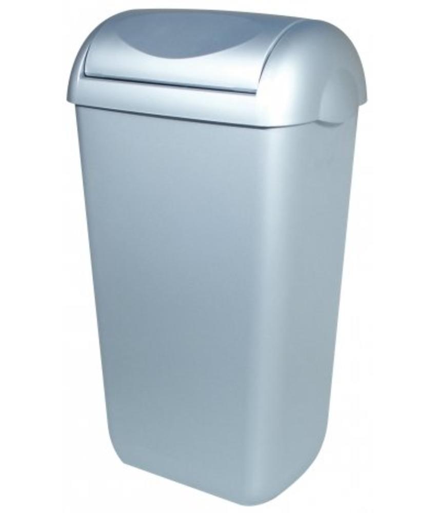 PlastiQline Afvalbak kunststof RVS look 43 liter swing
